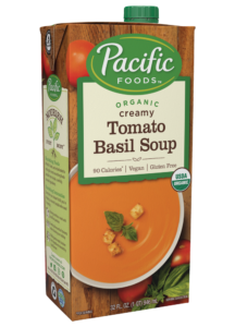 Creamy Vegan Tomato Basil Soup in new packaging